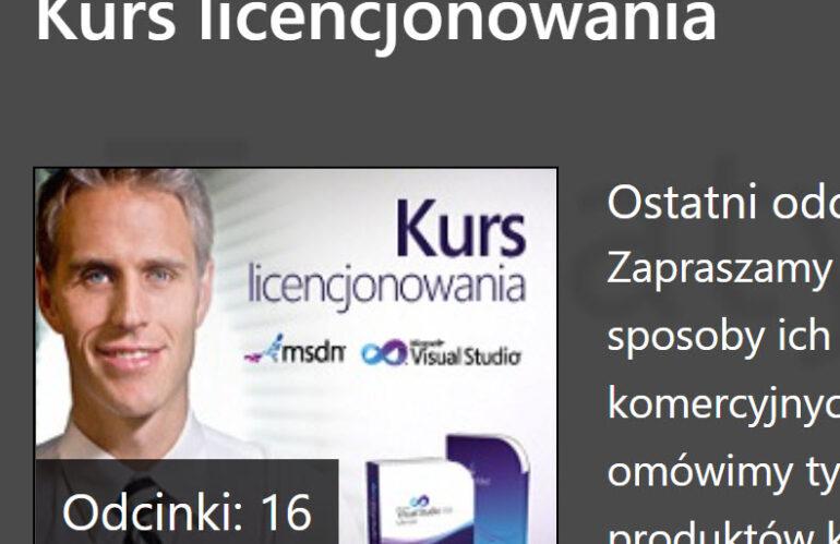 Webcasty licencyjne na Microsoft Channel 9 dotyczące licencjonowania produktów deweloperskich